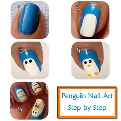 Penguin Nail Art Design Step by Step Instructions