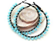 Baby Blue Wire Wrapped Beaded Hoop Earrings