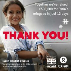 Oxfam GB raised £500,000 in just 12 days for Syria's refugees. Thank you!