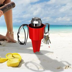 Prevent spills and keep sand out of your drink with our Stake in the Sand beach cup holder.