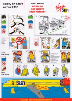 Airline Safety Card For virgin sun airbus issue Math Logo, Airbus A320, Safety Instructions, Art Template, Child Life, Printable Art, Infographic, Aircraft, Graphic Design
