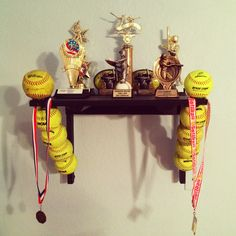 softball trophy shelf softball bedroom ideassoftball