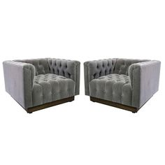 Oversized Milo Baughman Tufted Lounge Chairs in Smoky Gray Mohair