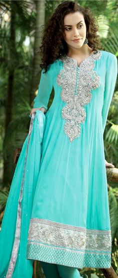 Aqua Green Faux Georgette Flair Churidar Kameez With Dupatta    Itemcode: KXW118B    Price: US $110.07    Click @ http://www.utsavfashion.com/store/sarees-large.aspx?icode=KXW118B