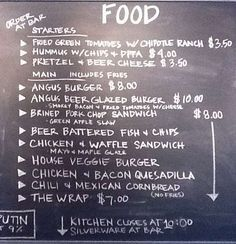 Four Pegs Bar and Lounge chalkboard menu... the Angus Beer Glazed Burger was heaven...