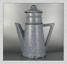 Rare Vintage French Art Deco Enamelware Graniteware Gray Enamel Coffee Pot
