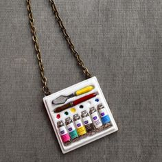 Paint Palette Artist Necklace Painting Paint Board by XenaStyle