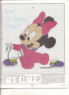 Schema punto croce Minnie baby scarpe