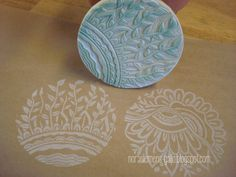 """Hand made original DOUBLE stamp """"Garden"""" and """"The twin flowers"""" by nora clemens-gallo"""