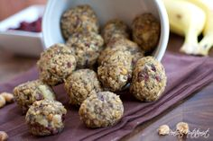 cranberry energy balls1 cup old-fashioned oats 2/3 chopped peanuts 1/2 cup chopped dried cranberries 1 very ripe banana, mashed 1/2 cup creamy peanut butter 1/3 cup honey or agave 3 tablespoons chia seeds 1 teaspoon vanilla