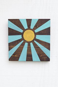 Sunshine Sign blue and yellow wood by JustAddSunshineInc Wood Plank Art, Wood Pallet Art, Pallet Crafts, Wooden Crafts, Pallet Ideas, Barn Wood Projects, Art Projects, Diy Wall Art, Diy Art