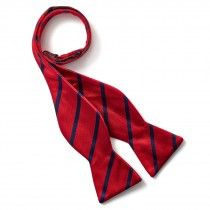 Bruno Piattelli Self Tie Silk Bow Tie, Red with Blue Stripes
