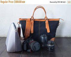 SUMMER SALES Dslr Camera Bag with Insert with shoulder strap