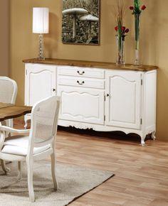Aparador  Vintage Lyón 192 Blanco Roto Patinado y Roble. White Washed Furniture, Timber Furniture, Recycled Furniture, Paint Furniture, Dining Furniture, Home Furniture, Furniture Design, Dining Room Blue, Dinning Chairs