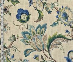 Indienne Jacobean fabric colonial crewel blue green linen from Brick House Fabric: Novelty Fabric