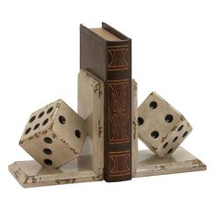 Dice Bookends 2-piece Set, White