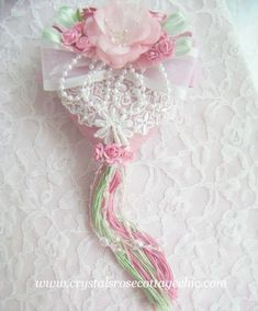 Rose and Mint Green Victorian Heart