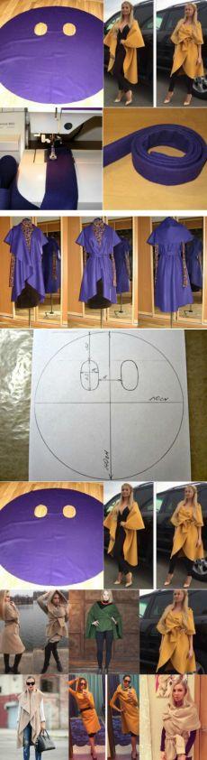 Neat photo idea for multi purpose #fashion #coat #dress made from fabric circle. stranamasterovv.ru