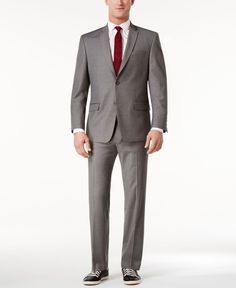 Marc New York by Andrew Marc Men's Classic-Fit Gray Sharkskin Suit