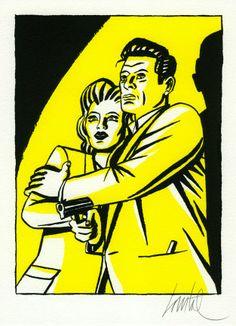 """Loustal, Façon """"Série Noire"""" d'Henri Vernes, 2013 - regardez un exemple de making-of http://studiocigale.fr/films/?catid=1&slg=making-of-publicite-institut-curie"""
