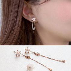 Long Crystal Star Flower 925 Sterling Silver Earrings For Women Hot Fashion sterling-silver-jewelry brinco brincos bijoux Chain Earrings, Cute Earrings, Earring Studs, Flower Earrings, Earrings Uk, Earrings Online, Beautiful Earrings, Diamond Earrings, Ear Jewelry