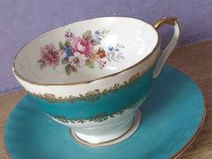 Antique Aynsley teacup and saucer, turquoise blue tea cup set, English tea cup, gold roses tea set