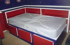 Nathan's Montreal Canadians bed   Ana White Diy Storage Twin Bed, Daybed With Storage, Corner Twin Beds, Painting Plywood, Wide Bookcase, Sports Bedding, Captains Bed, Cozy Corner, New Beds