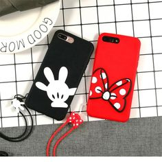 Korea Cartoon Minnie Mickey Couple Phone Case For iPhone Xs X 8 7 plus Lovely Rubber Soft Silicone Back Cover With Lanyard Matching Phone Cases, Girly Phone Cases, Iphone Cases Disney, Diy Phone Case, Iphone Phone Cases, Iphone 7 Plus Cases, Couples Phone Cases, Couple Cases, Moschino Phone Case