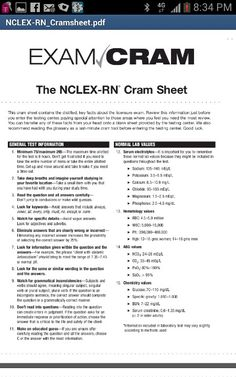 """ Click HERE for the 2 full page printable Exam Cram Sheet for Nclex-RN. """