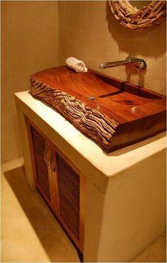 Leadwood Basin cravewooddesign cravewoodwoodcarving is part of Wood - Wood Decor, Wood Sink, Rustic Bathroom Designs, Wooden Bathroom, Wood Shop Projects, Log Furniture, Rustic Bathrooms, Wood Furniture, Sink Design