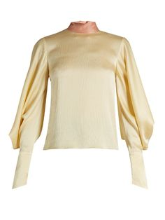 Roksanda Myra tie-neck hammered-satin top