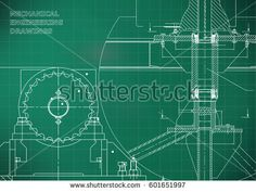 Blueprints. Mechanical construction. Engineering illustrations. Technical Design. Banner. Light green. Grid  #bubushonok #art #bubushonokart #design #vector #shutterstock  #technical #engineering #drawing #blueprint   #technology #mechanism #draw #industry #construction #cad