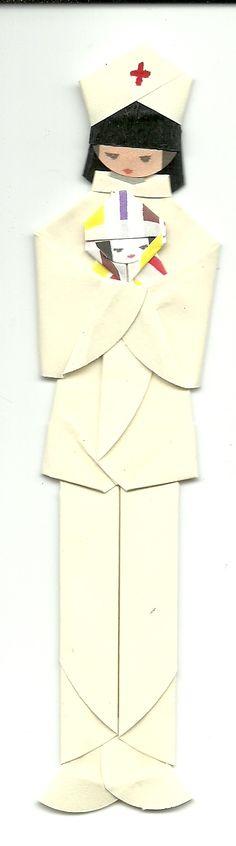 Marcador de páginas em origami - Enfermeira