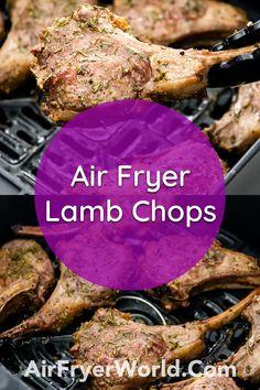 Air Fryer Recipes Lamb, Air Fry Recipes, Air Fryer Dinner Recipes, Best Lamb Recipes, Lamb Chop Recipes, Meat Recipes, Favorite Recipes, Lamb Chops Marinade, Air Fryer Healthy
