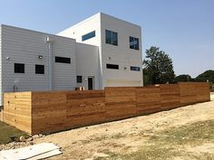 Raw cedar horizontal side by side fence. Installed by Titan Fence & Supply Comp… – Modern Design - Modern Outdoor Venues, Outdoor Decor, Cedar Fence, Wood Fences, Fencing, Building A Fence, Horizontal Fence, Fence Design, Small Gardens