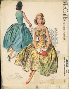 Rare McCall's 4008 Vintage 1957 Jr's size Gathered Bodice Dress Pattern in… 1950s Style, Style Vintage, Vintage Inspired, Dress Making Patterns, Vintage Dress Patterns, Clothing Patterns, Vintage Vogue, Moda Vintage, Vintage Outfits