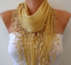 Mustard Cotton  Scarf  Headband Necklace Cowl by fatwoman, $15.00