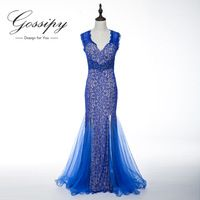 Sexy Lace Beaded Long Evening Dress 2015 New Arrival Formal Dresses Evening Party Dress Sleeveless VB006