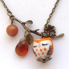 Antiqued Brass Leaf  Honey Jade Quartz  Porcelain Owl Necklace.