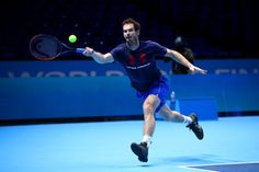Andy Murray of Great Britain hits a forehand during a practice session during previews for the Barclays ATP World Tour Finals at O2 Arena on November 12, 2016 in London, England.