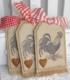 Rustic Rooster Burlap Country Gift Tags or bookmarks.add a little colored burlap .makes great easy gifts Burlap Projects, Burlap Crafts, Paper Crafts, Card Tags, Gift Tags, Chicken Crafts, Burlap Lace, Burlap Ribbon, Grosgrain Ribbon
