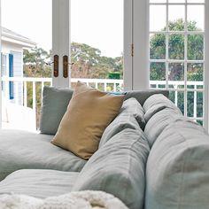 Francisco Modular featuring Dune fabric in 'Aloe'  #couch #modular #lounge #cornersofa #modularsofa #coastal #linen #fabric