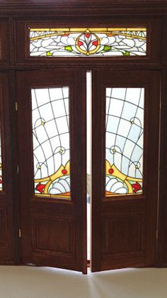 Art Nouveau double door with side panels