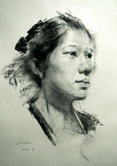Bason, female face portrait drawing, 2012.