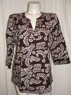 DRESSBARN Womens Top Brown Embellished Dashiki Hippie BOHO Tunic Shirt Size Lrg #dressbarn #Tunic #Casual
