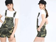 Short with front patch pocket Wear with a sheer top underneath for a more feminine lookFaded wash Camouflage print Camouflage, Online Collections, Dungarees, Desi, Feminine, How To Wear, Tops, Fashion, Trousers
