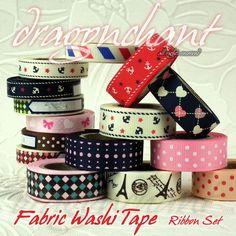 Anchor print fabric washi tape - headbands