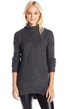 VELVET BY GRAHAM & SPENCER Women's Cashmere Blend Turtleneck Sweater, Charcoal, Medium ❤ VELVET BY GRAHAM & SPENCER Women's Collection