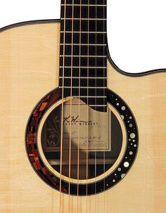 Custom guitar by Kathy Wingert, soundhole inlay detail (inlay by Jimmi Wingert).