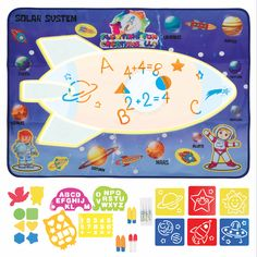 Size:9 by 5 yards Roll 15 X 9 Retro Art Cats On Mars Spaceship Planets Black Wallpaper Border For Kids Bedroom Playroom Bathroom